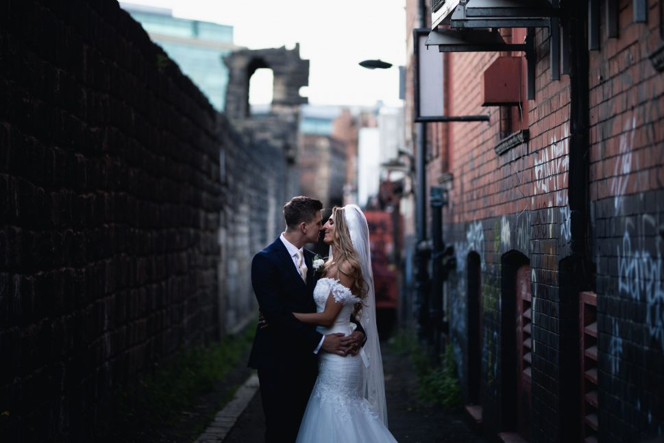 Newcastle wedding with couple in China town alley way